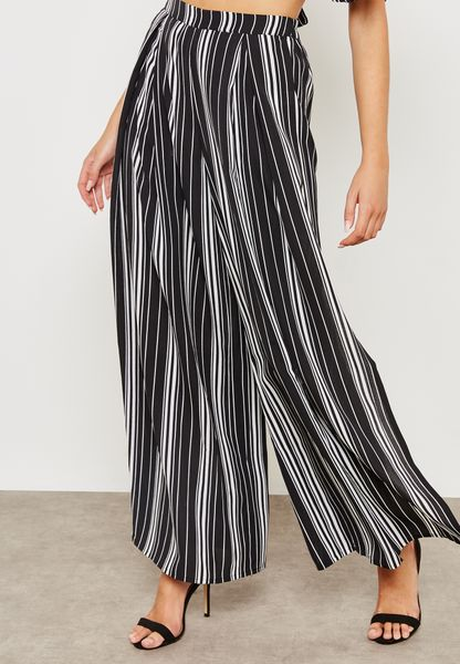 Front Split Wide Leg Stripped Pants