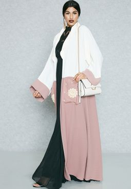 Colourblock Detail Pocket Abaya