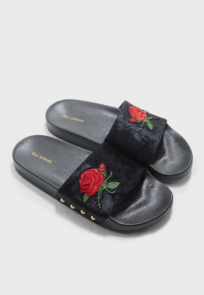 Velvet Flower Patch Slides