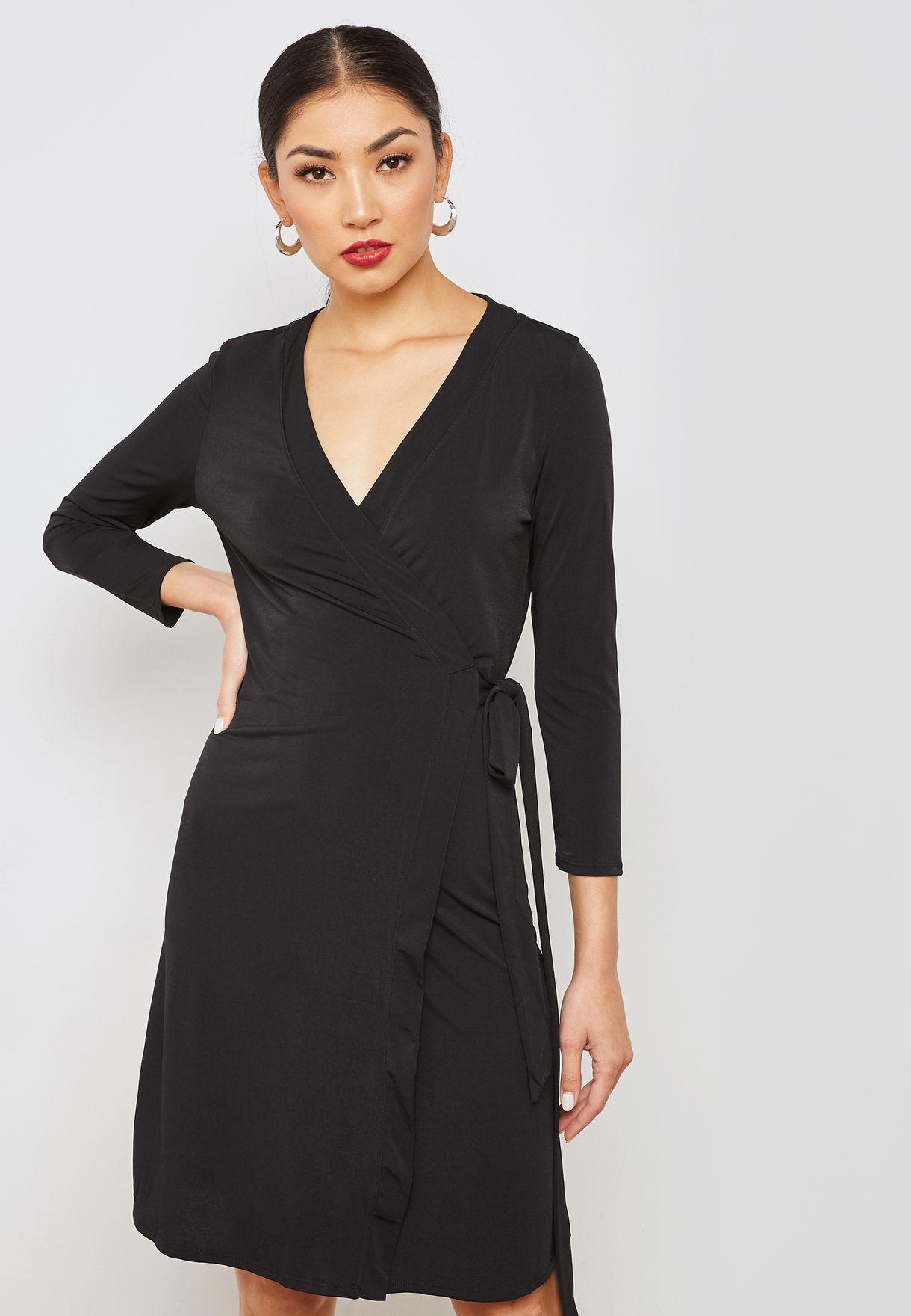d128727ebf8c Shop Mango black Belted Wrap Dress 31027674 for Women in UAE ...