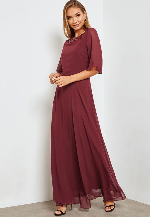 Neck Embellished Dress