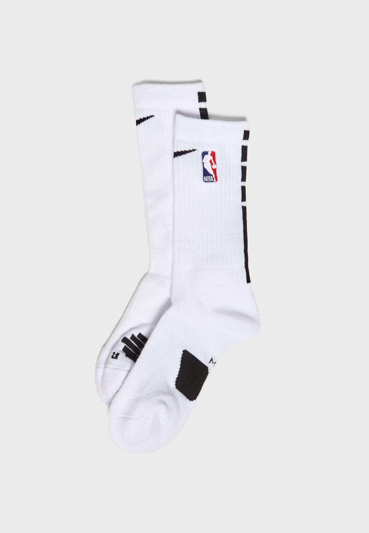 c5ed1174176 Shop Nike white NBA Elite Crew Socks SX7587-100 for Men in UAE ...