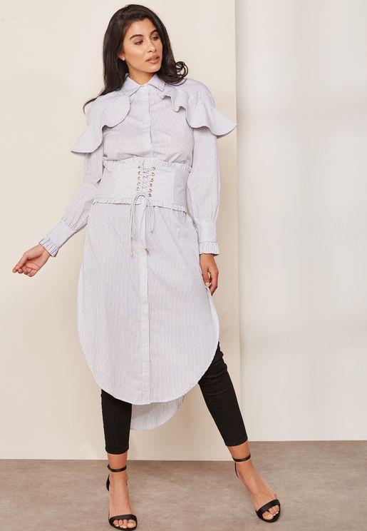 Ruffle Detail Corset Waist Longline Shirt