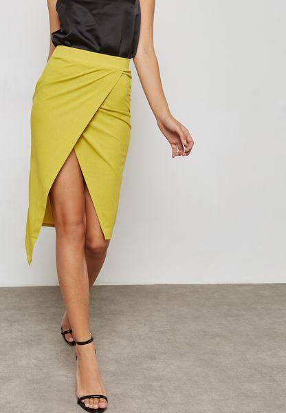 Asymmetric Ribbed Skirt