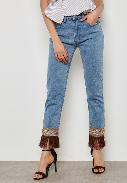 Fringe Hem Mid Rise Straight Jeans