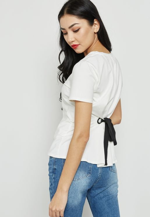 Eyelet Tie Back Knitted Top