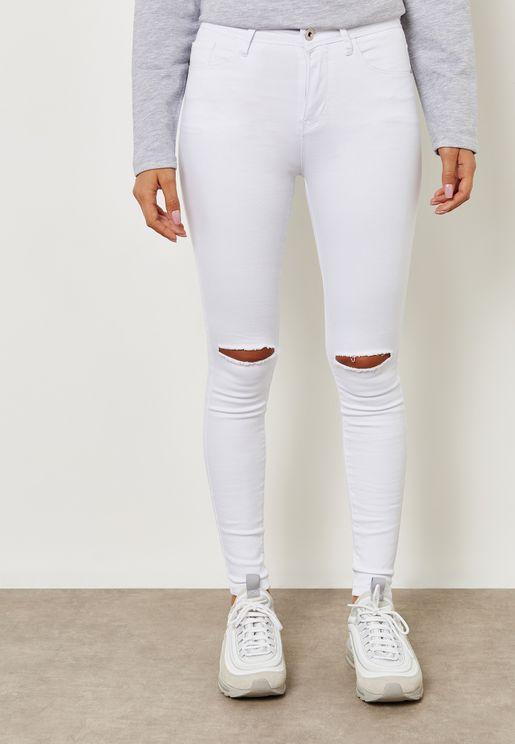 High Waisted Knee Slit Skinny Jeans