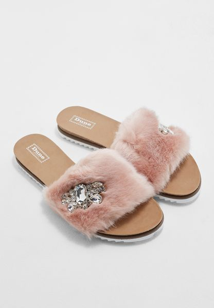 Bejewelled Fur Slides