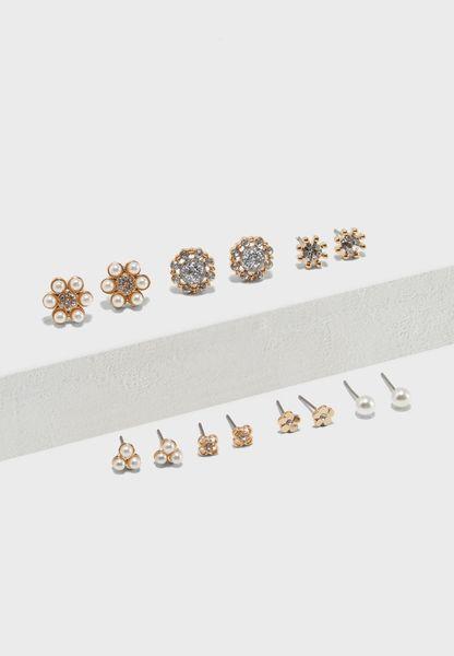 Flower Earrings Pack Of 7