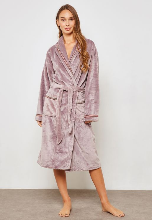 Contrast Piping Fleece Robe