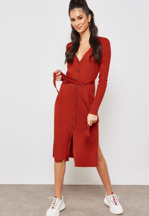 Button Detail Tie Waist Dress