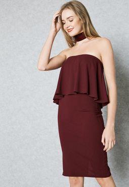 Ruffle Bandeau Dress