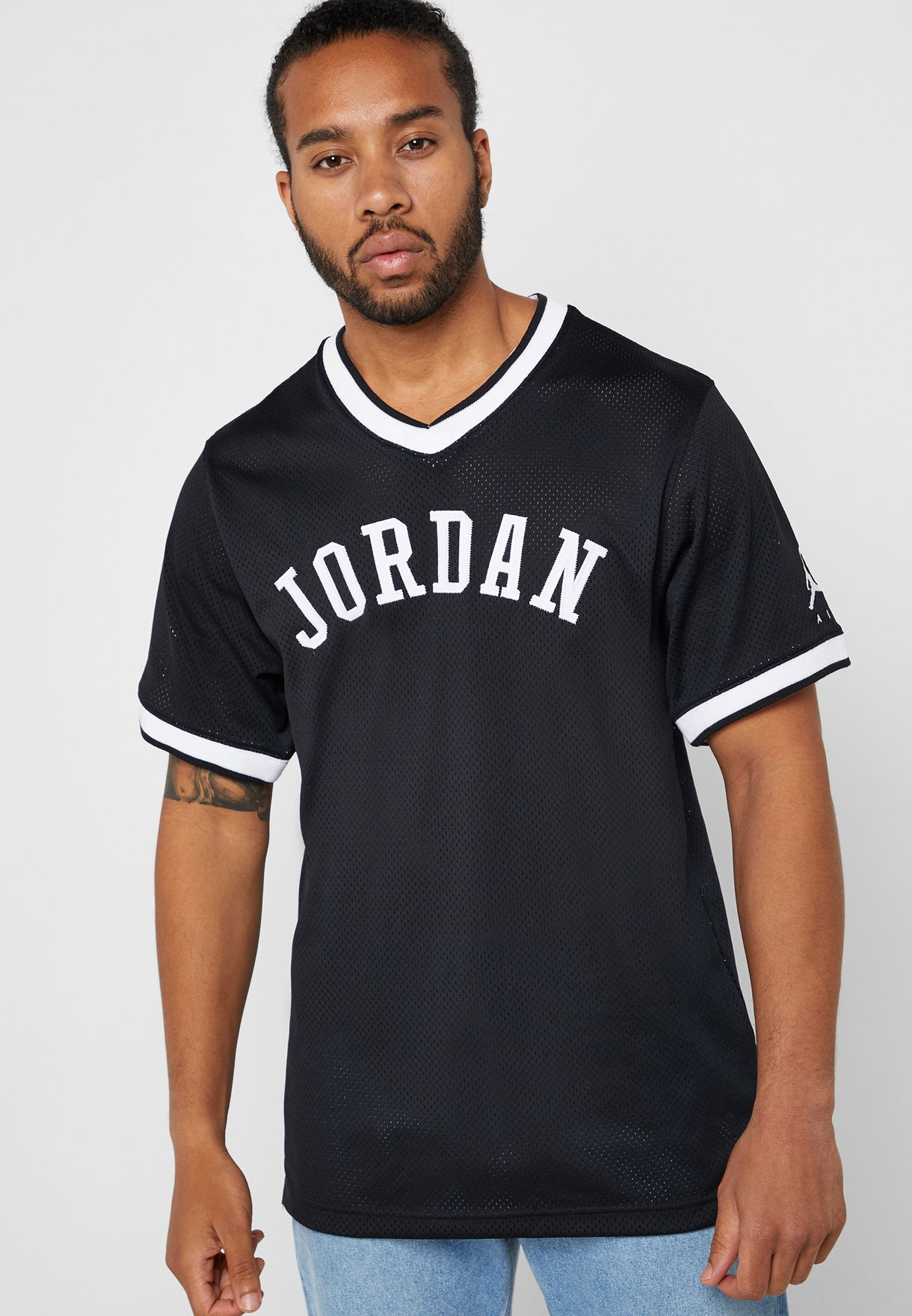 e66ca464bbe Shop Nike black Jordan Jumpman Air Mesh T-Shirt AR0028-010 for Men ...