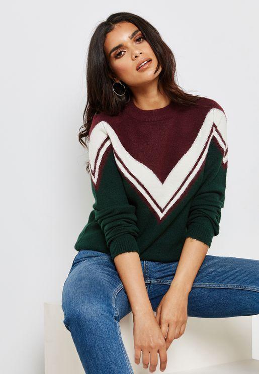 Colourblock Chevron Sweater