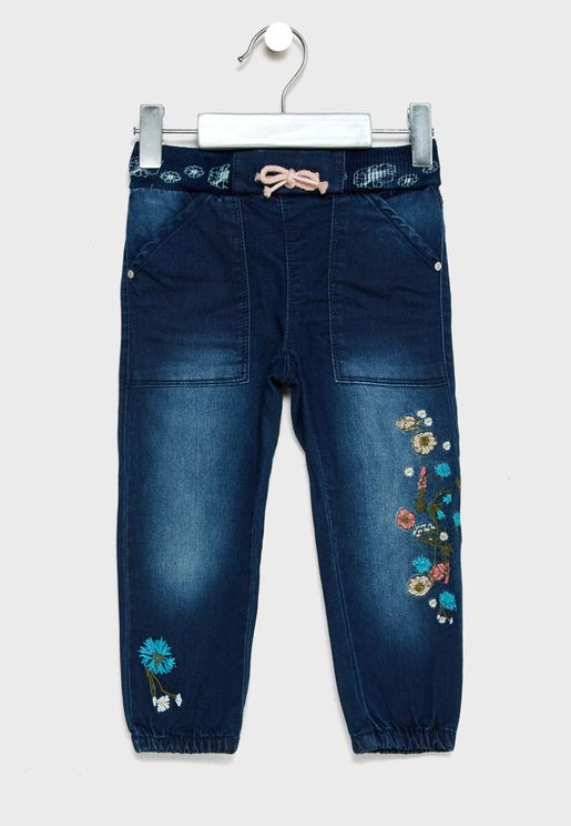 Infant Floral Embroidered Jeans