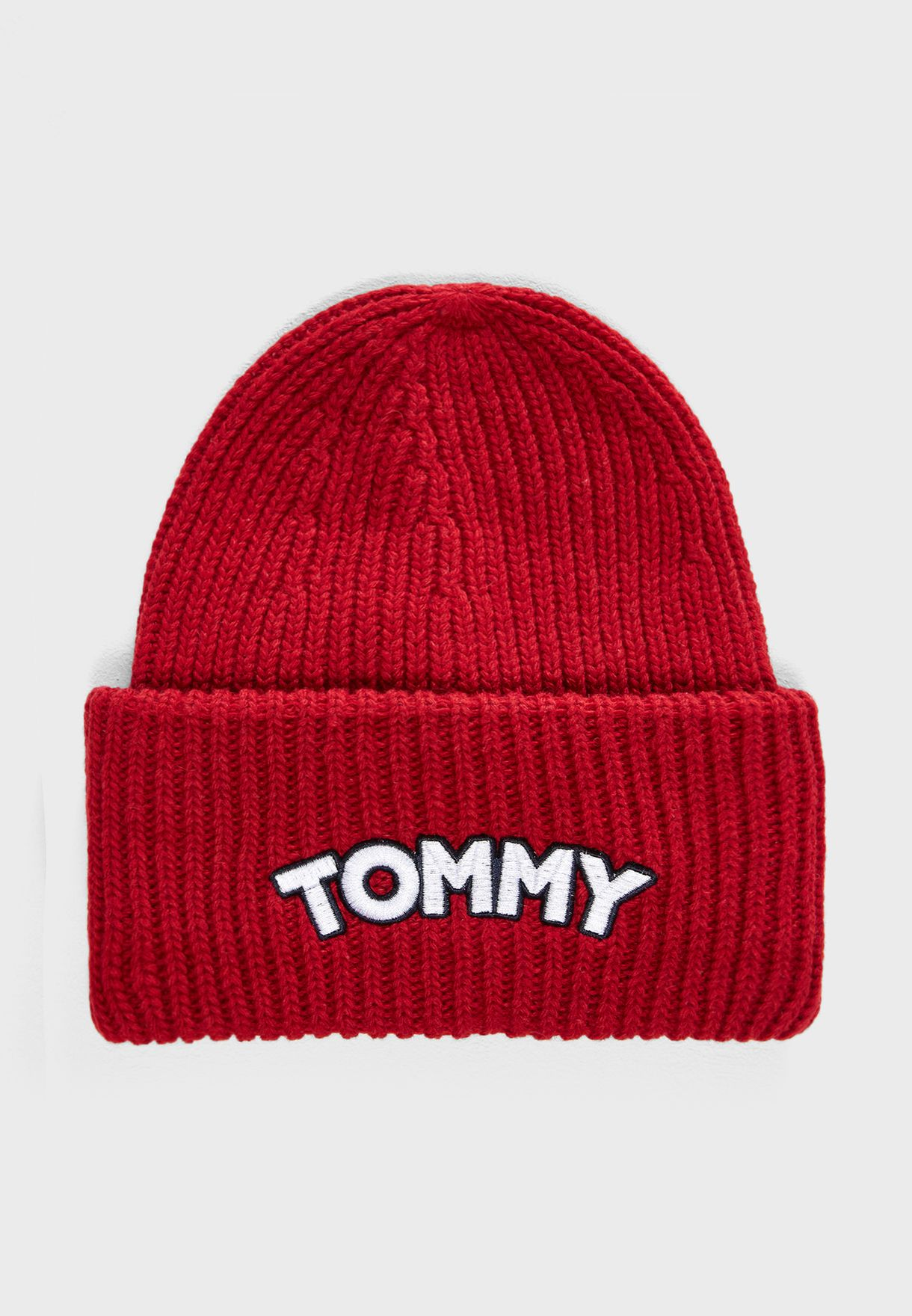 f993e2cc178e Shop Tommy Hilfiger red Logo Patch Beanie AW0AW05942 for Women in ...