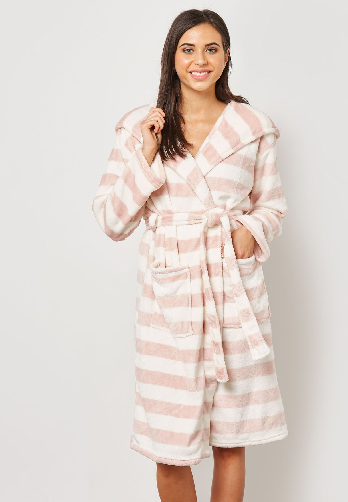 7f446efb6f Shop Dorothy Perkins stripes Printed Hooded Robe 33133381 for Women in  Kuwait - DO860AT75XNO
