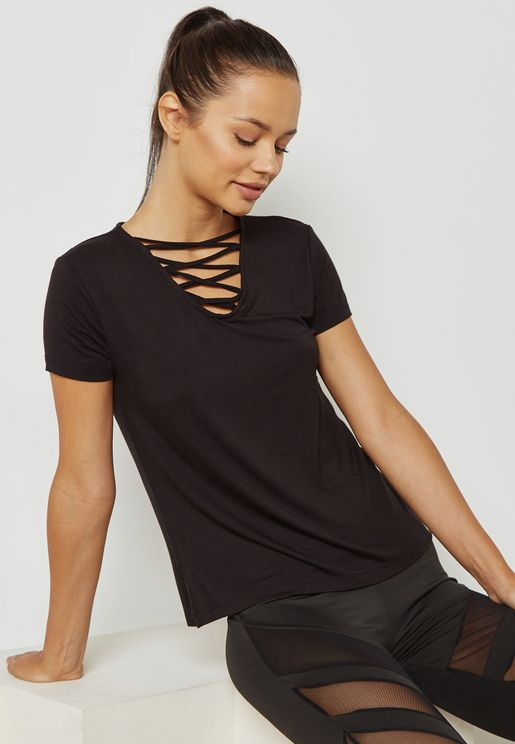 Criss Cross Neck T-Shirt