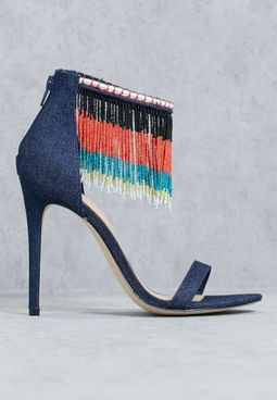 Frannssie Fringe Beaded Sandals