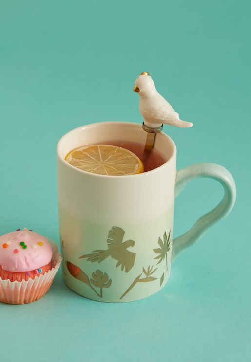 Parrot Mug With Ceramic Spoon