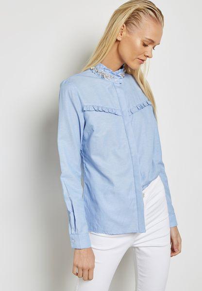 Embellished Neck Ruffle Shirt