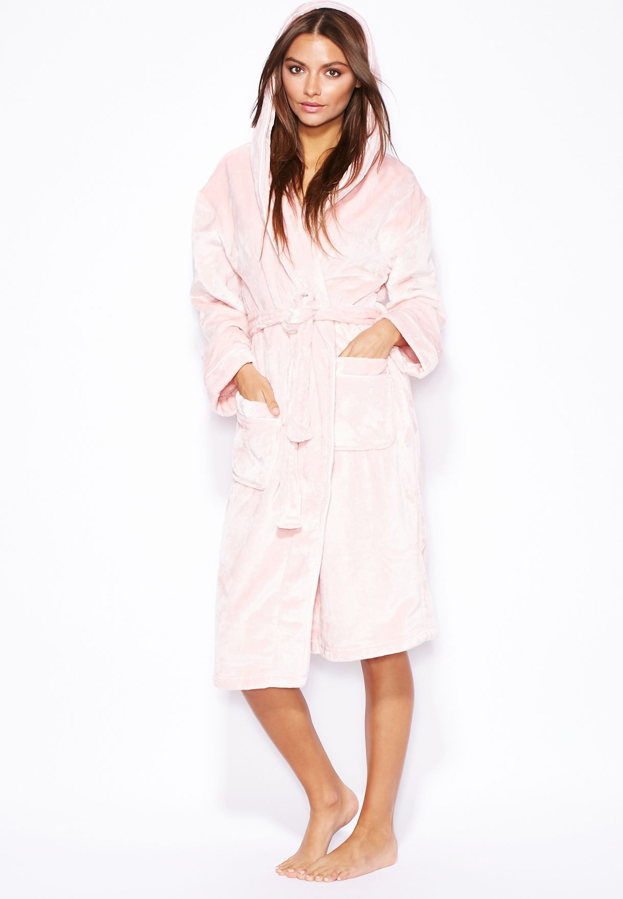 8e3f7c9850 Shop Dorothy Perkins pink Tie Waist Hooded Robe for Women in Qatar -  DO860AT75MHW