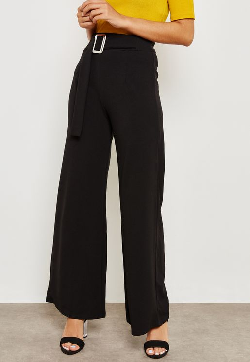 High Waisted Flared Hem Belted Pants