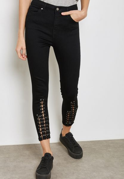 Lattice Hem Jeans