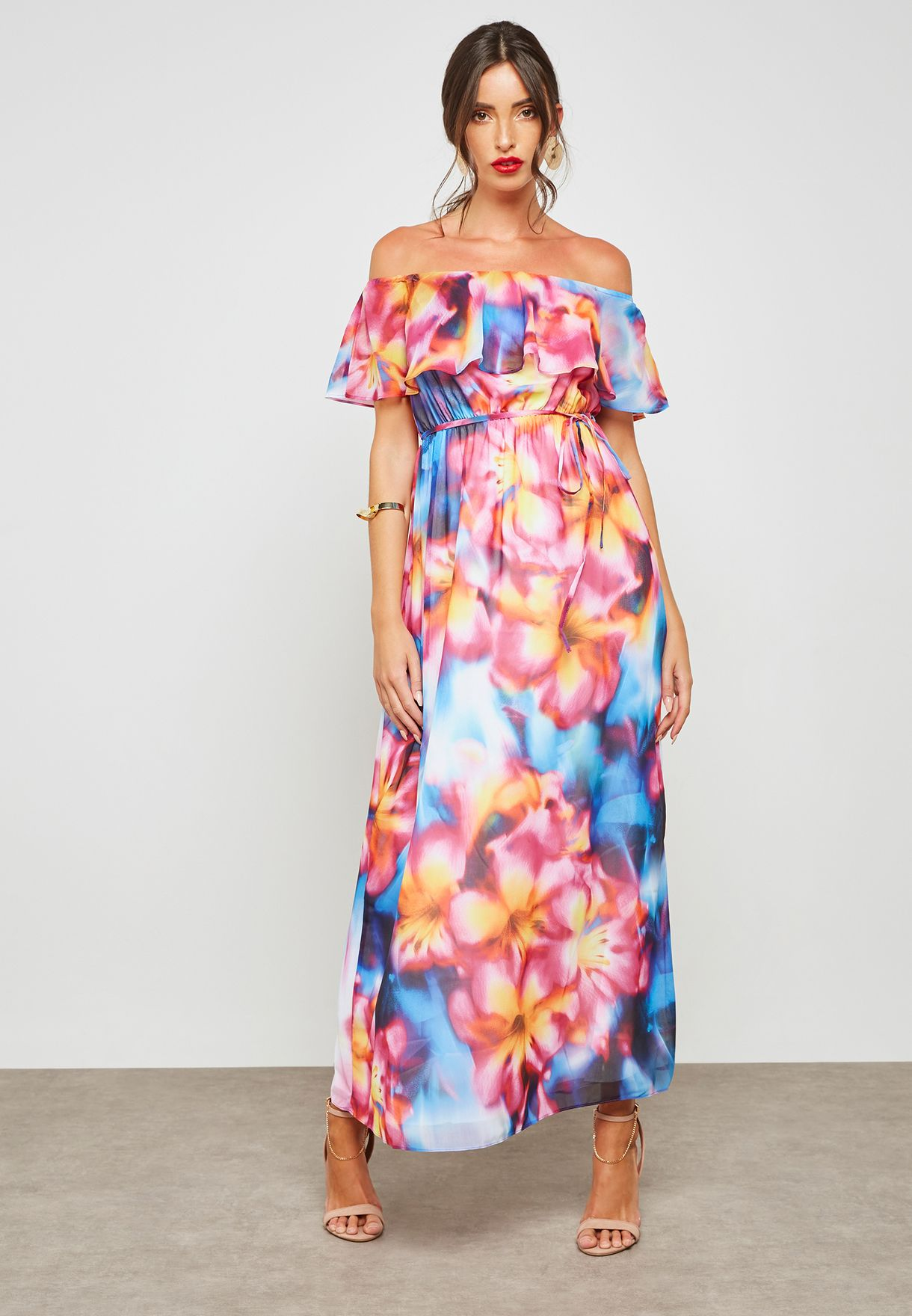 Tropical Printed Bardot Dress