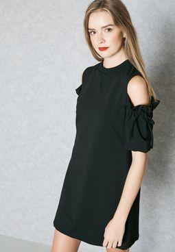 Tie Cold Shoulder Dress