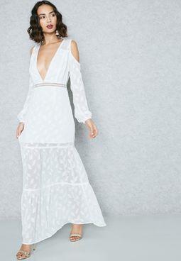 Cold Shoulder Plunge Dress