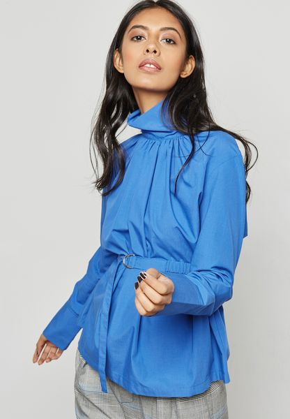 High Neck D-Ring Belted Top