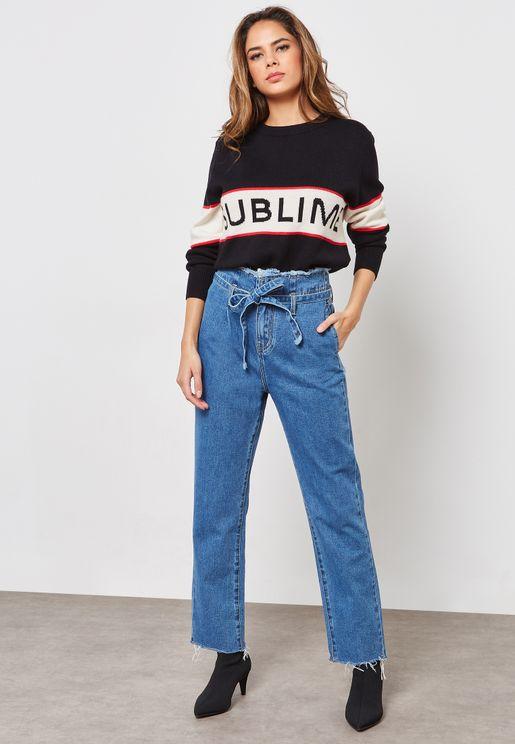Raw Hem Paperbag Waist Boyfriend Jeans