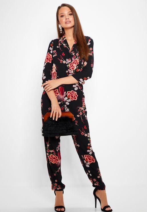 Floral Print Wrap Jumpsuit