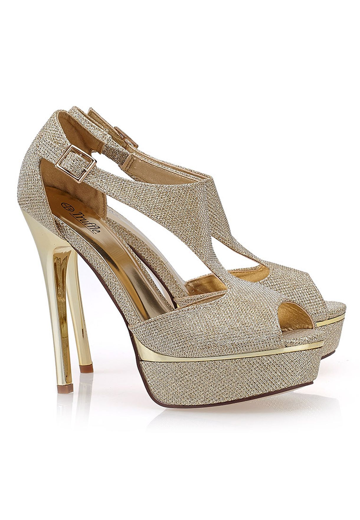c67b9ed4b6ec Shop Truffle gold Glitter Platform Sandals for Women in Oman ...