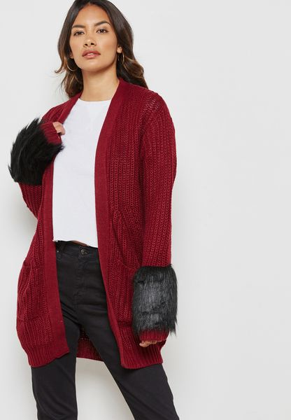 Faux Fur Cuffed Pocket Coatigan
