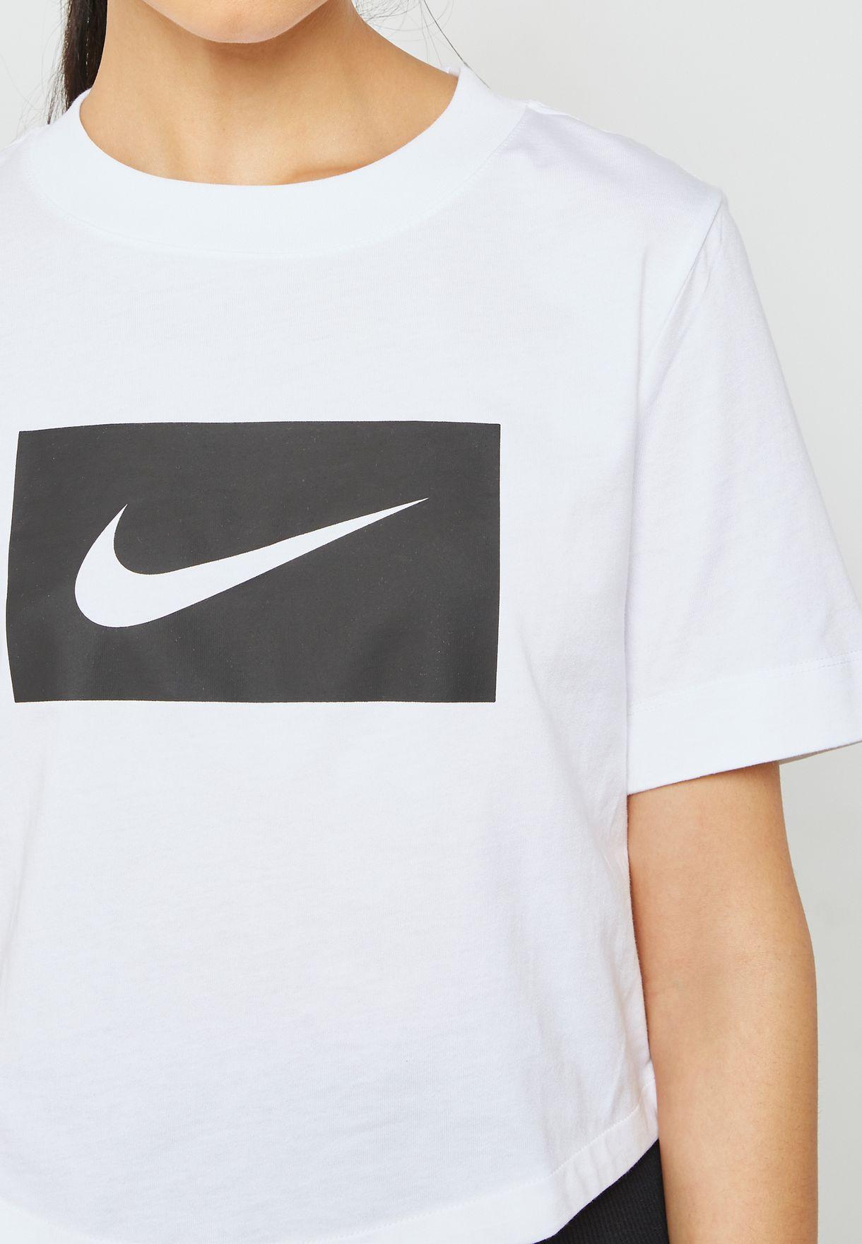 7db0a05d854ff5 Shop Nike white Swoosh Cropped T-Shirt AJ3765-100 for Women in Oman ...
