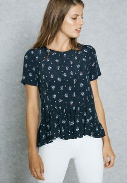 Frill Detail Printed Top