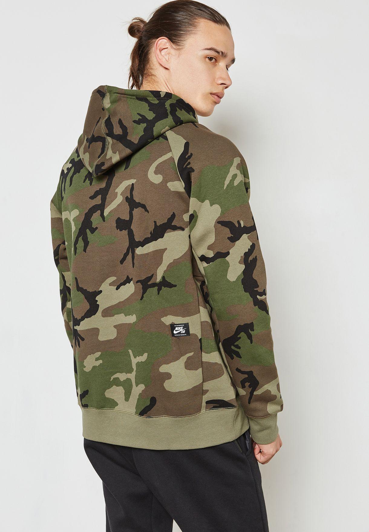 Nike SB AH5514 222 Kapuzenpullover in Grün mit Military