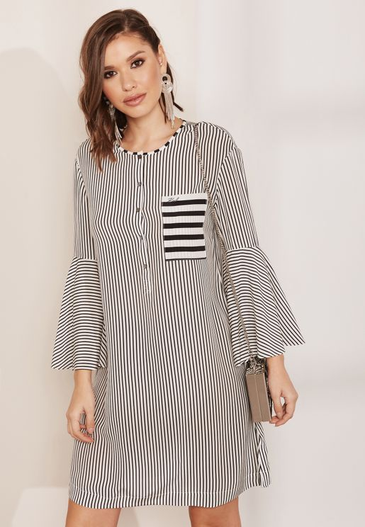 Bell Sleeve Striped Mini Dress
