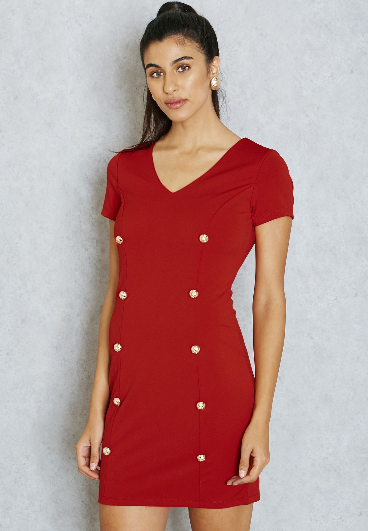 fe1393333f859 Shop Ella red Double Breasted Dress for Women in Qatar - EL314AT65HGK