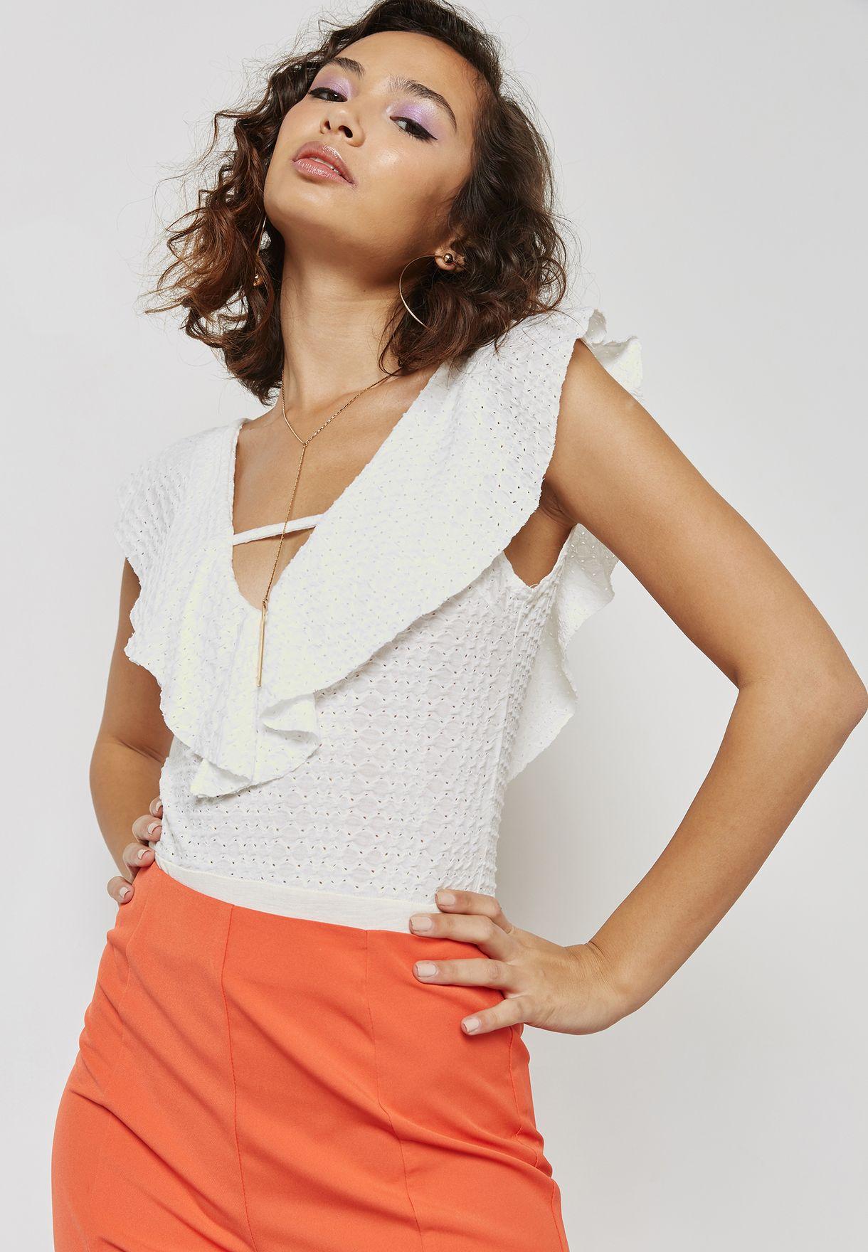 379372454e Shop Missguided white V-Back Ruffle Detail Body TJ412421 for Women ...