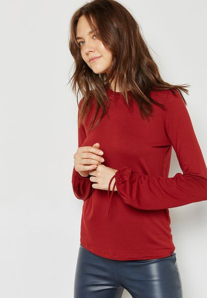 Tie Sleeve Ruched T-Shirt