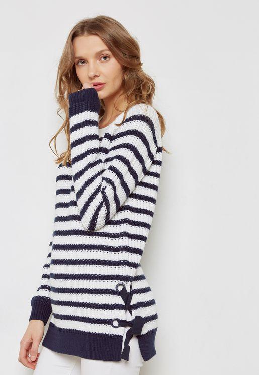 Stripe Side Eyelet Tie Sweater