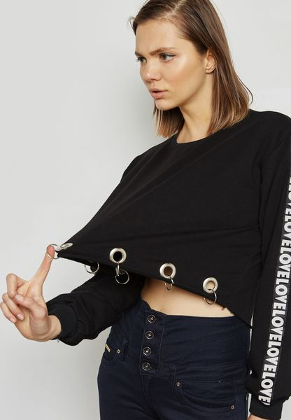 Slogan Sleeve Eyelet Hem Sweater