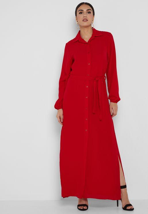 Self Tie Shirt Maxi Dress