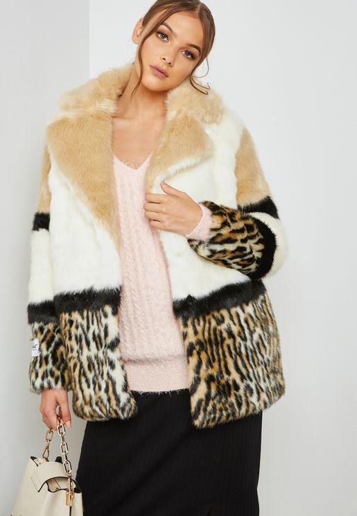 Leopard Print Color Block Jacket