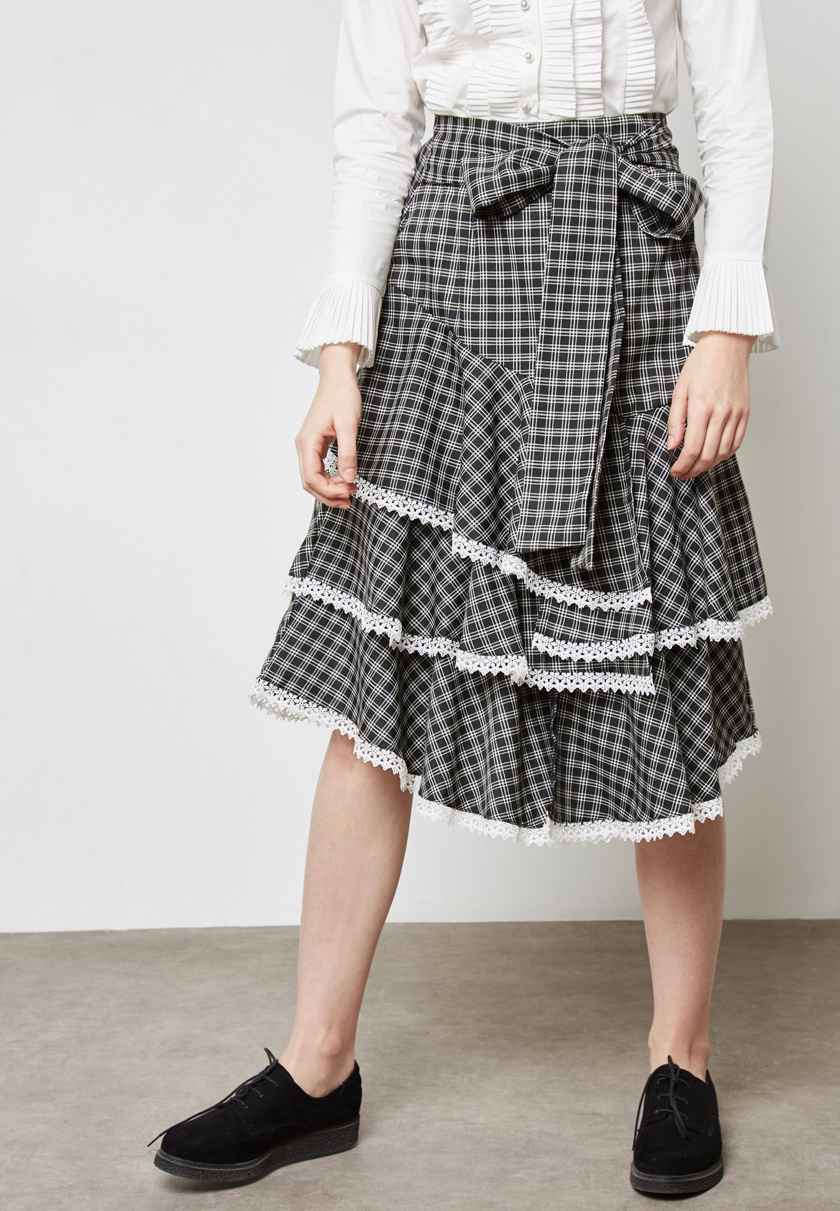 Tie Waist Checked Skirt