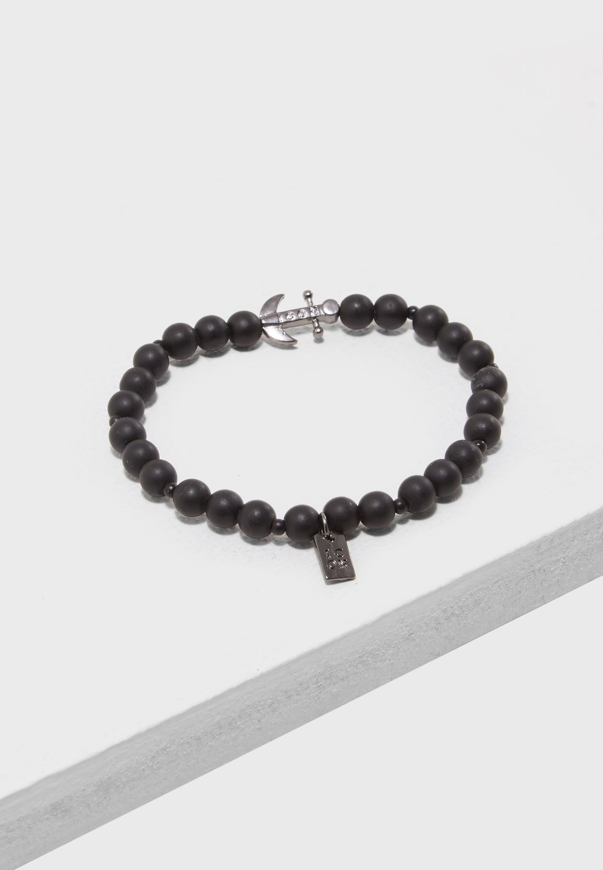 Matte Black Finish Stretch Bracelet