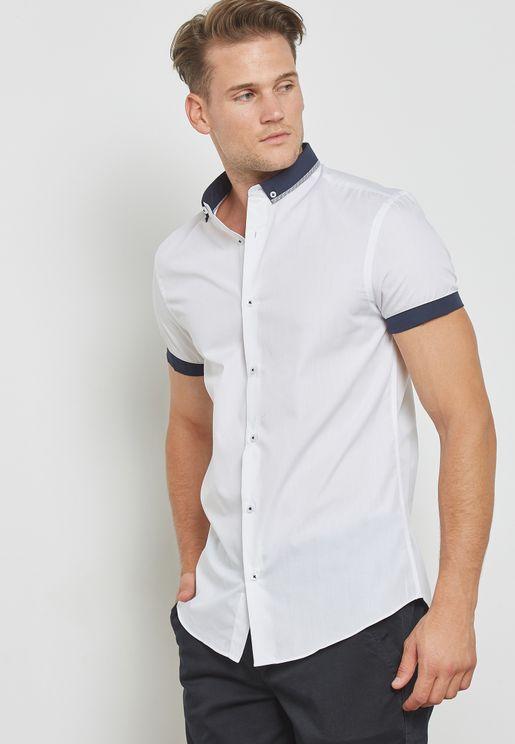 قميص بياقة مزدوجة